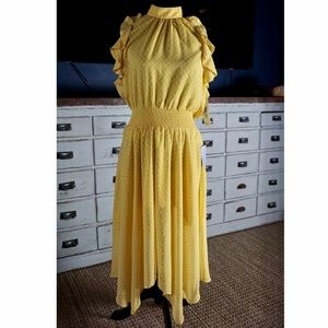 Eliza J Ruffle Halter Polka Dot Yellow Dress